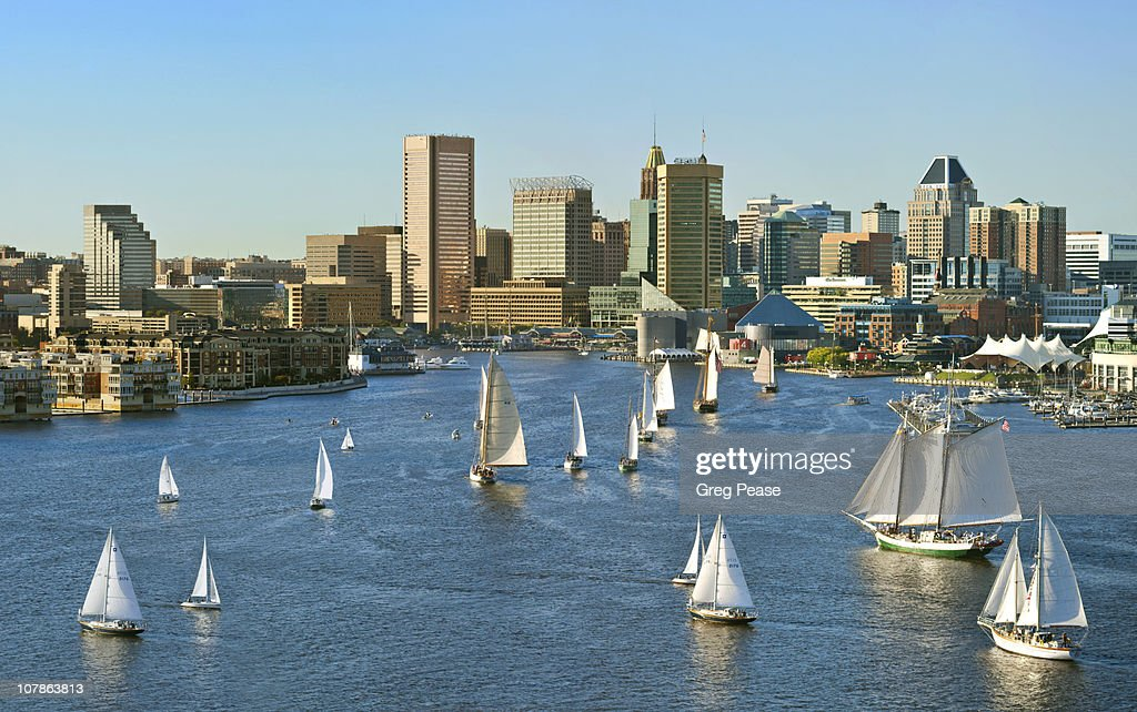Baltimore City Skyline with The Parade of Sail
