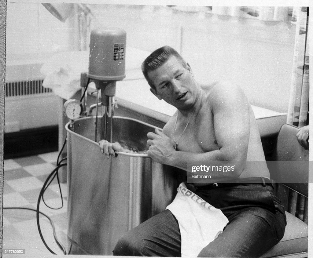 Baltimore Colts Quarterback Johnny Unitas Undergoes Whirlpool Bath  Treatment At Kernan Hospital April 16th. Treatment
