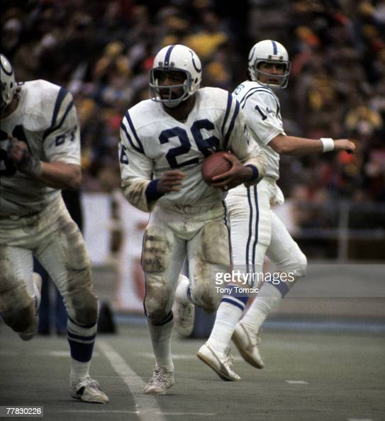 Baltimore Colts running back Lydell Mitchell follows his blocking during the AFC Divisional Playoff a 2810 loss to the Pittsburgh Steelers on...