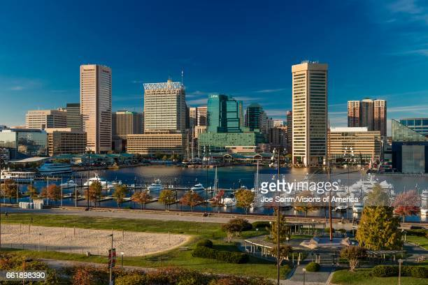 Baltimore Inner Harbor late afternoon lighting of ships and skyline Baltimore Maryland shot from Federal Park Hill