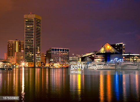 Baltimore Inner Harbor Night Scene