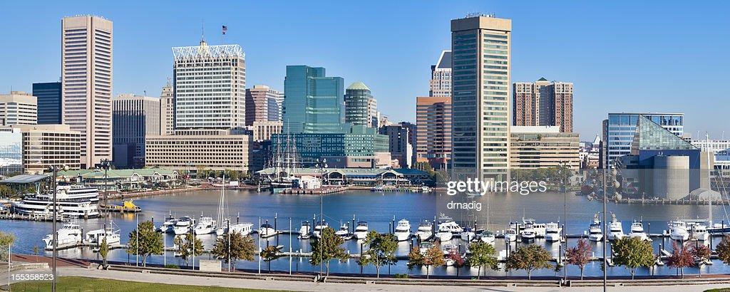 Baltimore Inner Harbor Skyline and Boats : Stock Photo