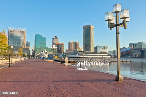 Baltimore Inner Harbor Skyline and Paved Waterfront Promenade