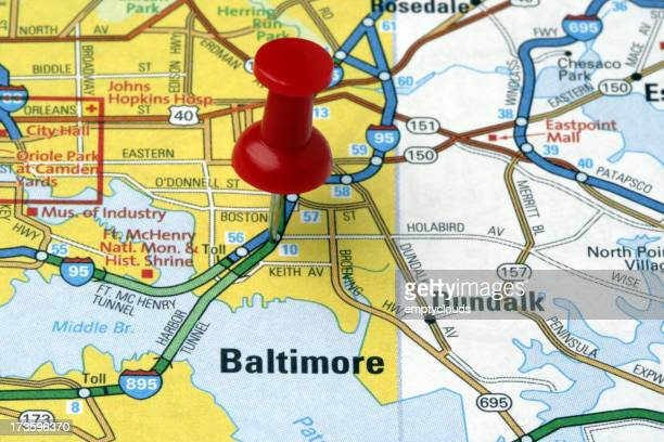 Baltimore, Maryland on a map.