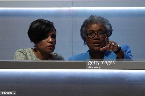 Baltimore Mayor Stephanie RawlingsBlake and Donna Brazile speak during the first day of the Democratic National Convention at the Wells Fargo Center...