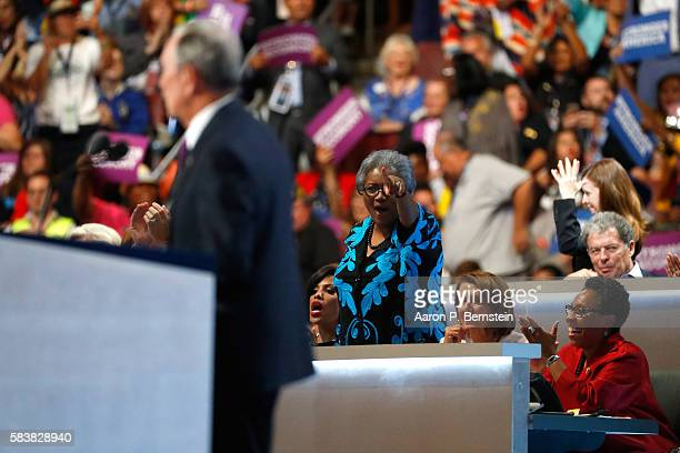 Baltimore Mayor Stephanie RawlingsBlake Donna Brazile House Minority Leader Nancy Pelosi and US Representative Marcia Fudge listen to former New York...