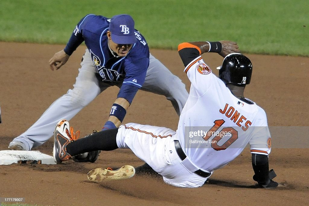 Baltimore Orioles' Adam Jones is forced out at second by Tampa Bay Rays shortstop Yunel Escobar in the fifth inning at Oriole Park at Camden Yards in Baltimore, Maryland, Wednesday, August 21, 2013.