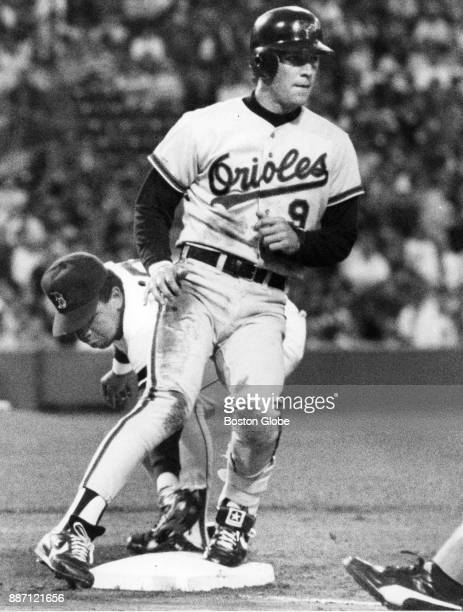 Baltimore Orioles Brady Anderson runs to second base during a game against the Boston Red Sox at Fenway Park in Boston Aug 21 1990