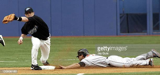 Baltimore Orioles Brian Roberts steals 2nd in MLB action at the Rogers Centre in Toronto on June 23 2005
