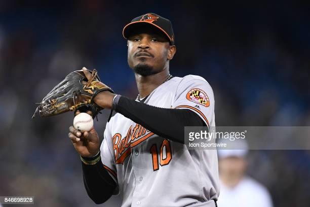 Baltimore Orioles Center field Adam Jones reacts during the MLB regular season game between the Toronto Blue Jays and the Baltimore Orioles on...