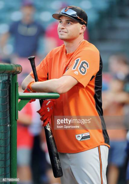 Baltimore Orioles designated hitter Trey Mancini leans on the batting cage during batting practice before a game against the Los Angeles Angels of...