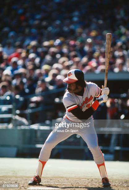 Baltimore Orioles' Eddie Murray winds up to swing during the World Series against the Pittsburgh Pirates at Three Rivers Stadium in October of 1979...