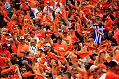 Baltimore Orioles fans cheer prior to Game Two of the American League Division Series against the Detroit Tigers at Oriole Park at Camden Yards on...