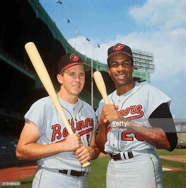 Baltimore Orioles Frank Robinson poses with Brooks Robinson at Yankee Stadium