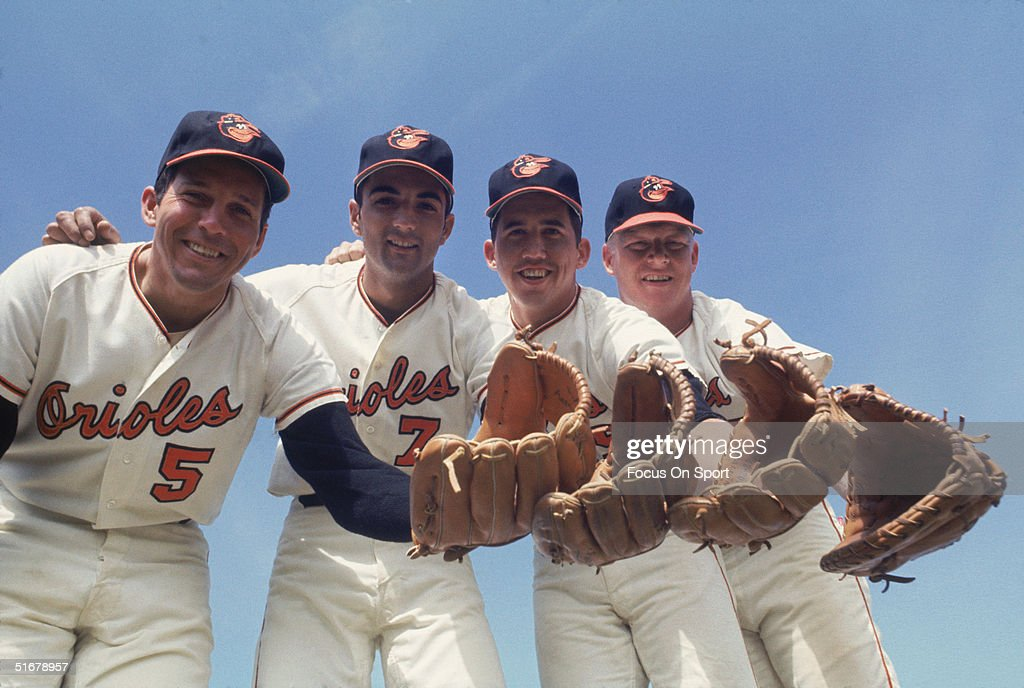 Baltimore Orioles' Infielders third baseman Brooks Robinson short stop Mark Belanger second baseman Dave Johnson and first baseman Boog Powell pose...
