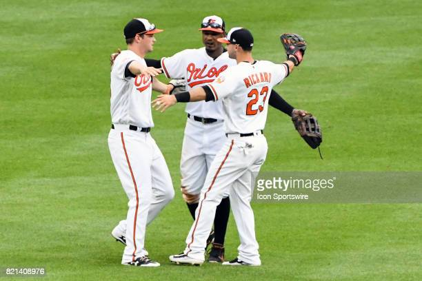 Baltimore Orioles left fielder Trey Mancini center fielder Adam Jones and right fielder Joey Rickard celebrate following an MLB game between the...