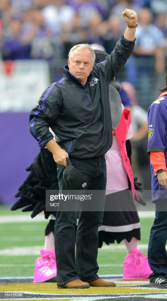Baltimore Orioles manager Buck Showalter is recognized during the coin toss before the Baltimore Ravens take on the Dallas Cowboys in Baltimore, Maryland, on Sunday, October 14, 2012. Baltimore takes a 31-29 win.