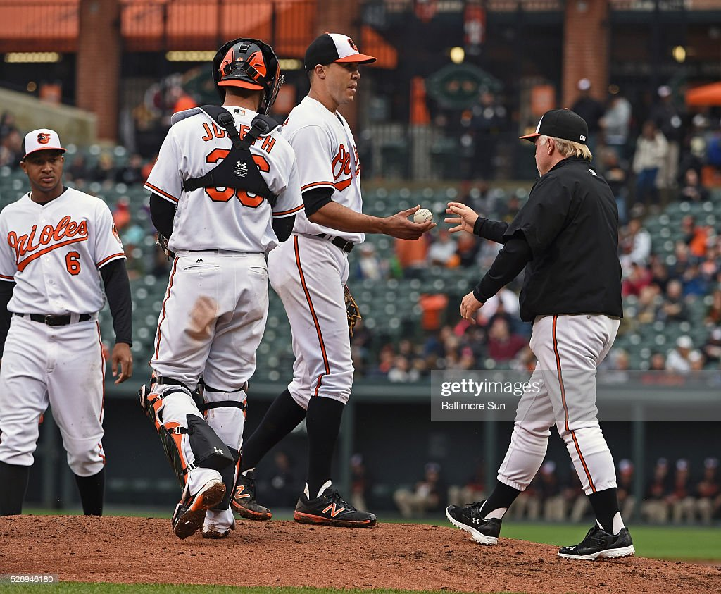 Baltimore Orioles manager Buck Showalter, right, gets the ball from starter Ubaldo Jimenez after calling for a reliever during the fifth inning on Sunday, May 1, 2016, at Oriole Park at Camden Yards in Baltimore.