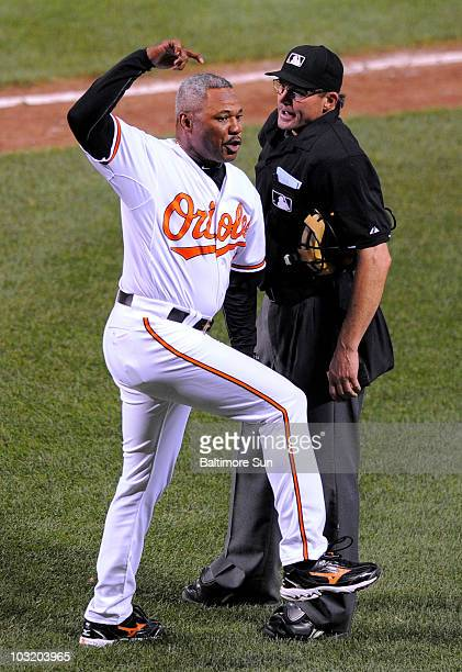 Baltimore Orioles manager Juan Samuel is ejected from the game in the top of the seventh inning after arguing with umpire Bill Hohn in action against...