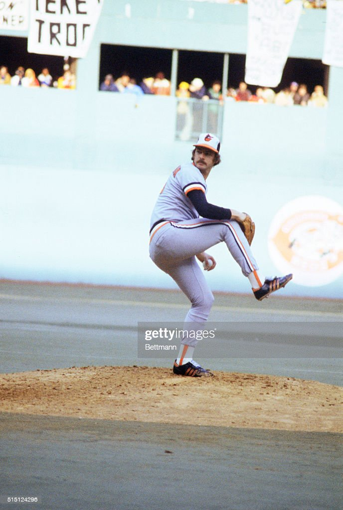 Baltimore Orioles Mike Flanagan pitching against Pittsburgh in World Series