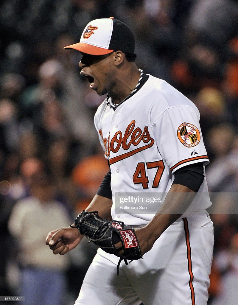 Baltimore Orioles' Pedro Strop reacts to striking out Toronto Blue Jays Melky Cabrera for the final out during the 8th inning in Baltimore, Maryland, Tuesday, April 23, 2013.