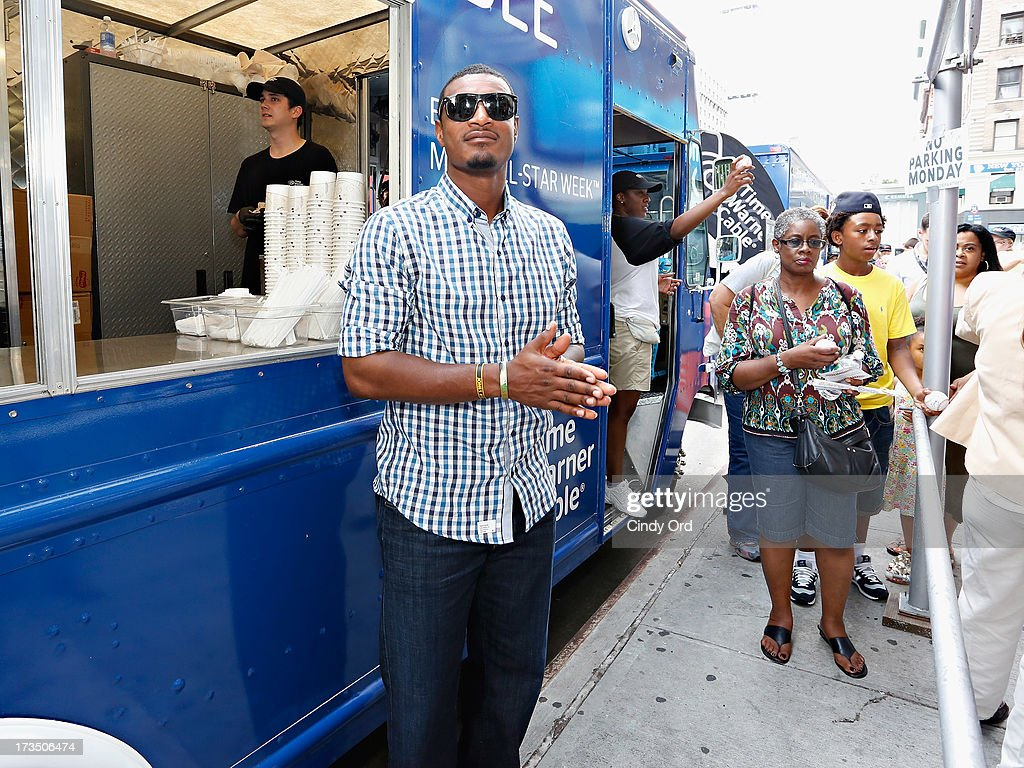 Baltimore Orioles player Adam Jones attends Time Warner Cable MLB All Star Week - Food Trucks, Wifi & Players on July 15, 2013 in New York City.