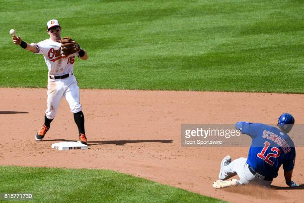 Baltimore Orioles second baseman Johnny Giavotella attempts to complete a double play as Chicago Cubs designated hitter Kyle Schwarber is forced out...