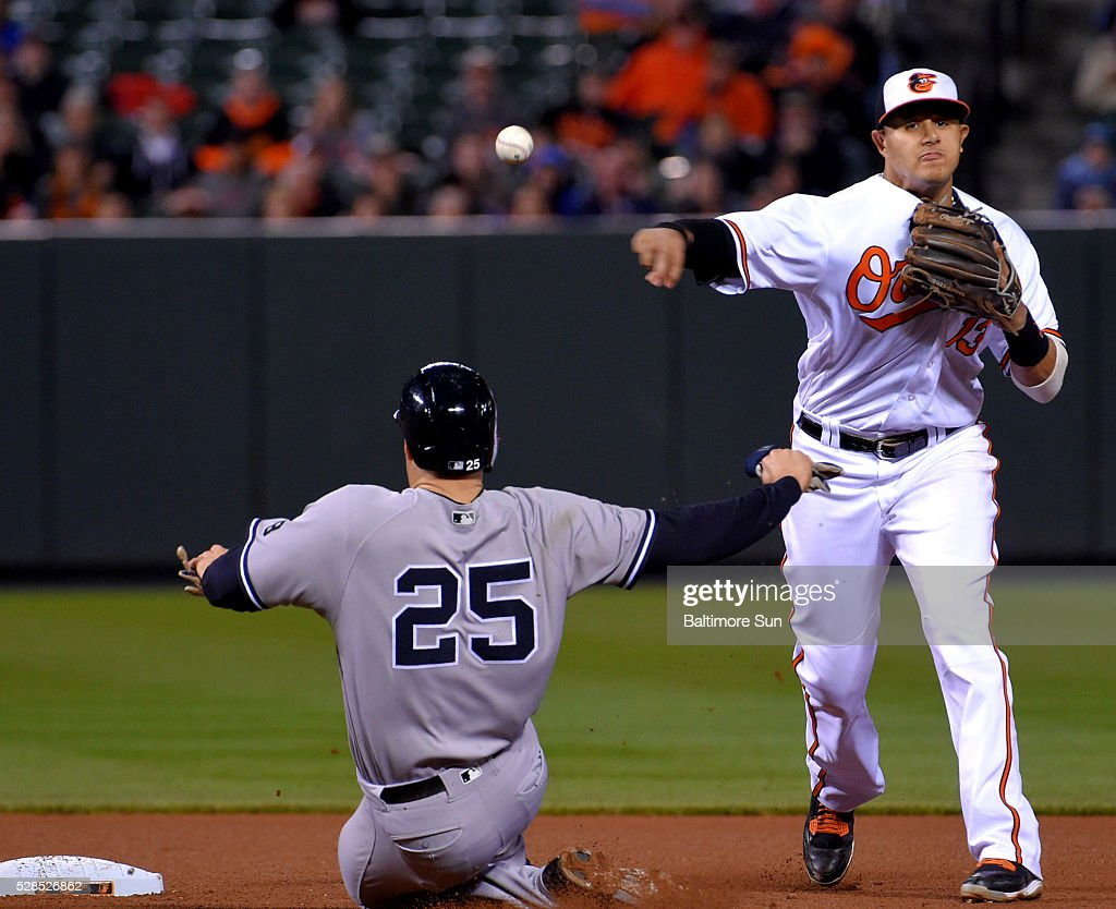 Baltimore Orioles shortstop Manny Machado turns a double play over the New York Yankees' Mark Texeira (25) at Oriole Park at Camden Yards in Baltimore on Thursday, May 5, 2016. The Orioles won, 1-0, in 10 innings.