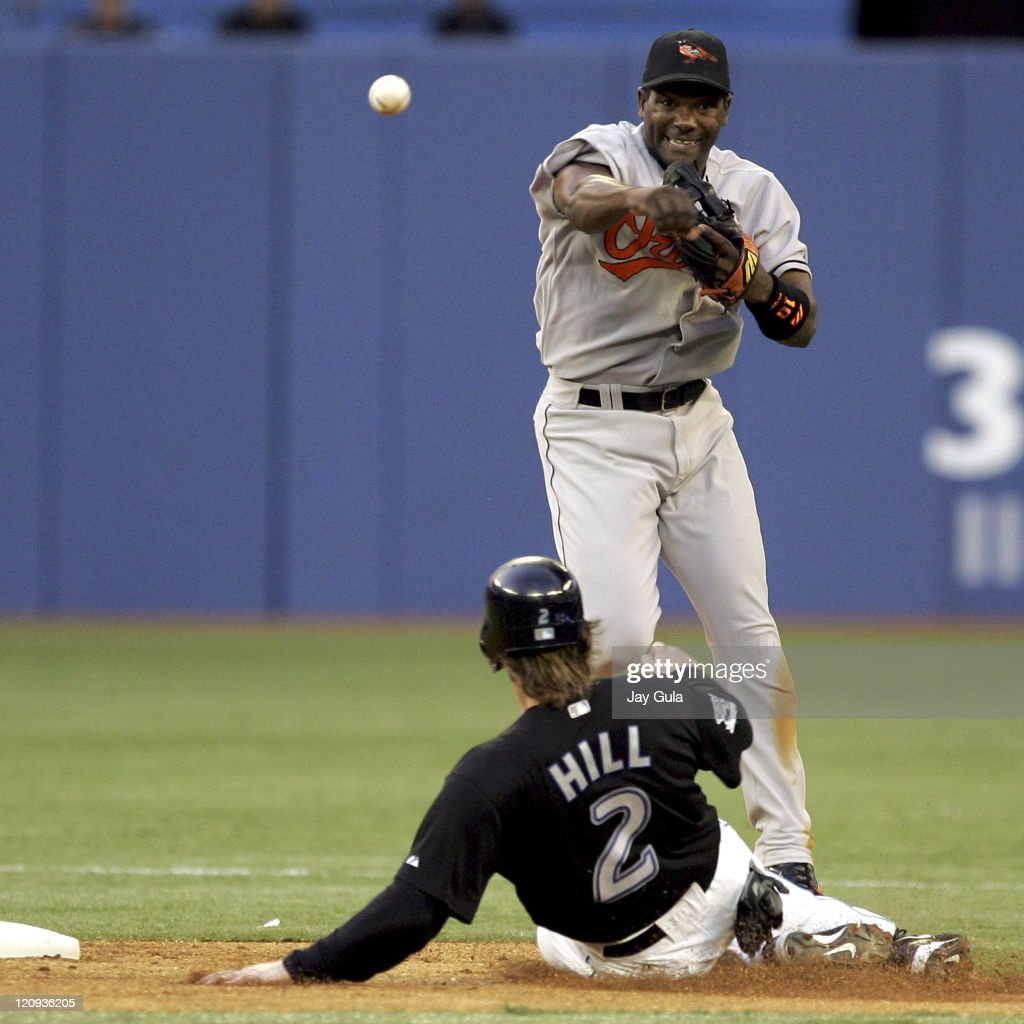 Baltimore Orioles' shortstop <a gi-track='captionPersonalityLinkClicked' href=/galleries/search?phrase=Miguel+Tejada&family=editorial&specificpeople=202227 ng-click='$event.stopPropagation()'>Miguel Tejada</a> relays to 1st for a double play against the Toronto Blue Jays at the Rogers Centre in Toronto, Canada on. August 31,2005.