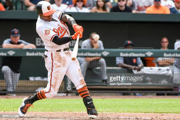 Baltimore Orioles shortstop Tim Beckham hits an eighth inning RBI single during an MLB game between the Detroit Tigers and the Baltimore Orioles on...