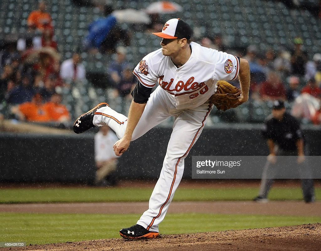 Baltimore Orioles starter Chris Tillman follows through after striking out Boston Red Sox's Jonathan Herrera to end the top of the second inning at Oriole Park at Camden Yards in Baltimore on June 10, 2014.