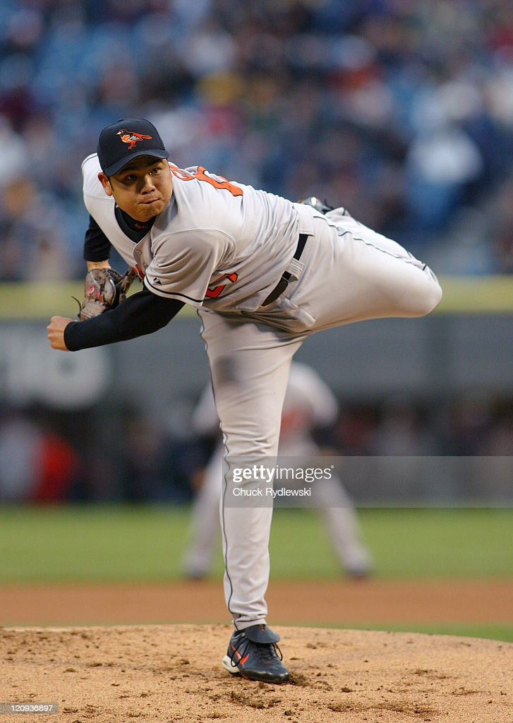 Baltimore Orioles starting pitcher, <a gi-track='captionPersonalityLinkClicked' href=/galleries/search?phrase=Bruce+Chen&family=editorial&specificpeople=213886 ng-click='$event.stopPropagation()'>Bruce Chen</a>, pitches against the Chicago White Sox May 12, 2005 at U.S. Cellular Field in Chicago, Illinois.