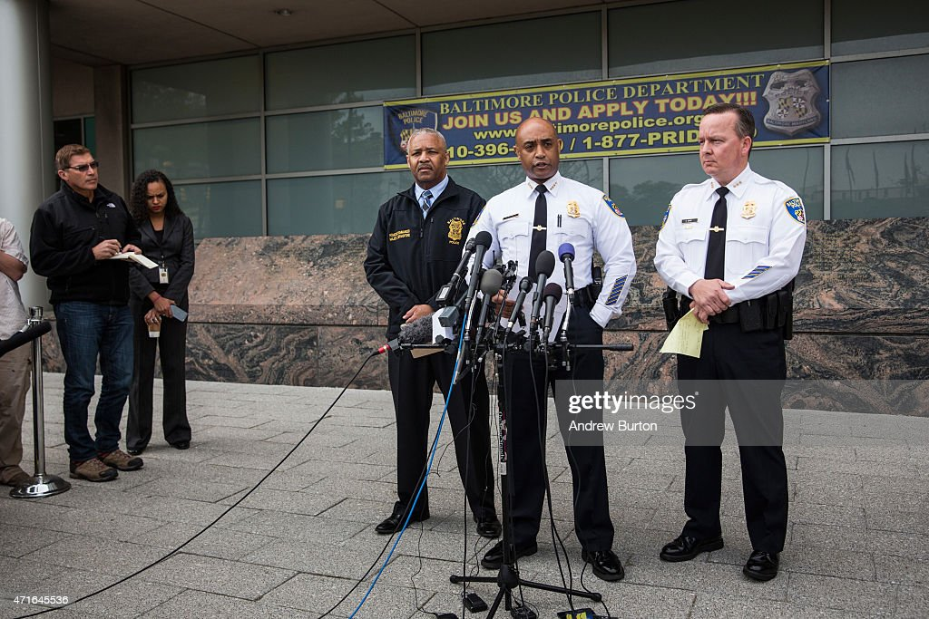 Baltimore Police Commissioner Anthony Batts (2nd R) speaks at a press conference regarding the death of Freddie Gray on April 30, 2015 in Baltimore, Maryland. It was announced that the van carrying Gray had stopped a second, previously undisclosed, time. Baltimore has seen days of rioting since Gray's death while in police custody.