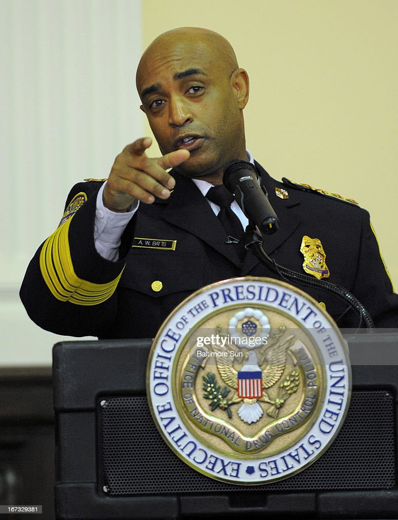 Baltimore Police Commissioner Anthony Batts speaks at the news conference where Gil Kerlikowske, Director of National Drug Control Policy (ONDCP) and President Obama's top drug policy advisor, released the Obama Administration's National Drug Control Strategy, Wednesday, April 24, 2013, at the Welch Medical Library on the campus of Johns Hopkins School of Medicine in Baltimore, Maryland.
