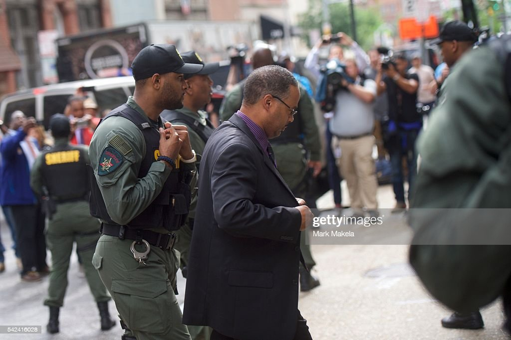 Baltimore police officer Caesar Goodson Jr. arrives at the Circuit Court before the judge issues the verdict in his trial on June 23, 2016 in Baltimore, Maryland. Officer Goodson, the van driver in the Freddie Gray case, is facing multiple charges including second-degree murder. This is the third trial related to the death of Freddie Gray, who died while in police custody.