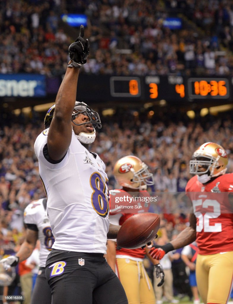 Baltimore Ravens' Anquan Boldin (81) celebrates his touchdown against the San Francisco 49ers during first-quarter action in Super Bowl XLVII at the Mercedes-Benz Superdome in New Orleans, Louisiana, Sunday, February 3, 2013.