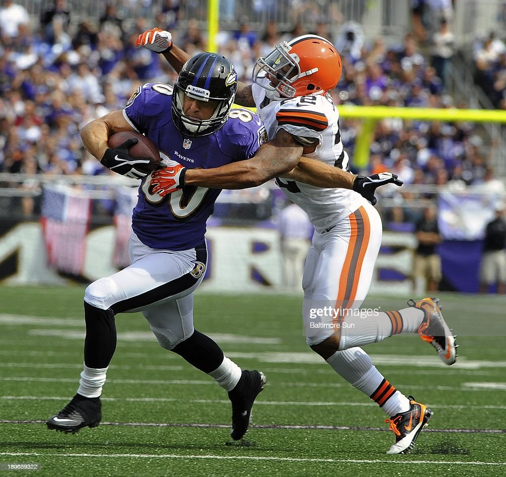 Baltimore Ravens' Brandon Stokley, left, beats Cleveland Browns' Buster Skrine, right, for 11-yards in the third quarter at M&T Bank Stadium in Baltimore, Maryland, Sunday, September 15, 2013.