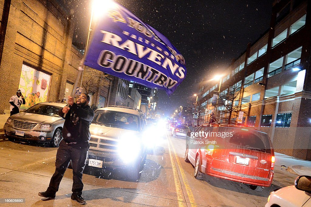 Baltimore Ravens celebrate in the streets after Super Bowl XLVII against the San Francisco 49ers in the neighborhood of Fells Point on February 3, 2013 in Baltimore, Maryland. The Baltimore Ravens won the Super Bowl, 34-31, to capture their second championship title.