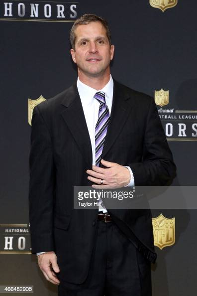 Baltimore Ravens coach John Harbaugh wins the Salute to Service Award at the 3rd Annual NFL Honors at Radio City Music Hall on February 1 2014 in New...