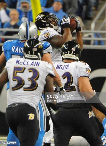 Baltimore Ravens' DeAngelo Tyson back intercepts a passintended for Detroit Lions' Reggie Bush in the third quarter at Ford Field in Detroit on...