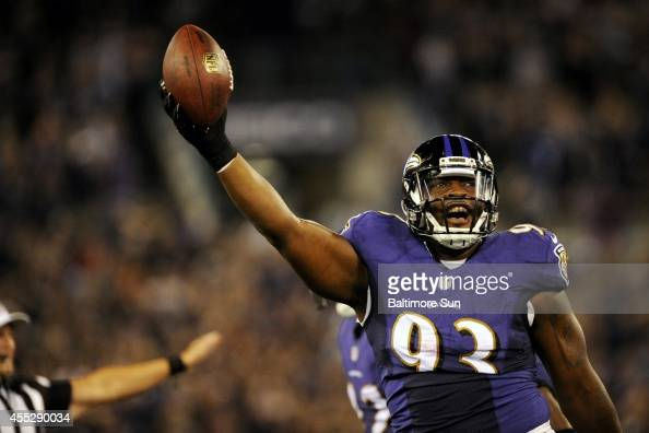 Baltimore Ravens defensive end DeAngelo Tyson celebrates after recovering a fumble by the Pittsburgh Steelers Justin Brown at the Baltimore 15 on...