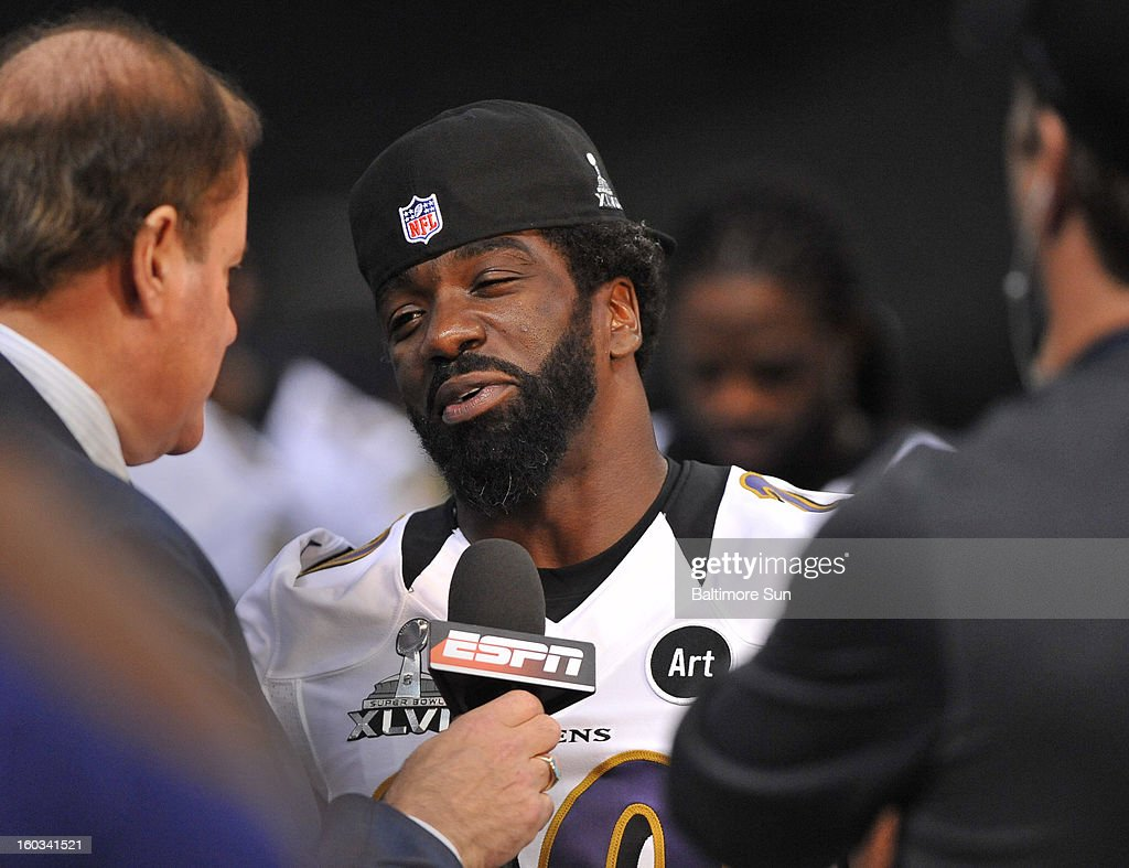 Baltimore Ravens' Ed Reed is interviewed by ESPN during the Baltimore Ravens portion of Media Day at the Mercedes Benz Super Dome in New Orleans, Louisiana, Tuesday, January 29, 2013.