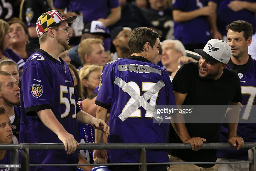 Baltimore Ravens fan tapes over his Ray Rice jersey with the words 'Mike Tyson' during the game against the Pittsburgh Steelers at MT Bank Stadium on...