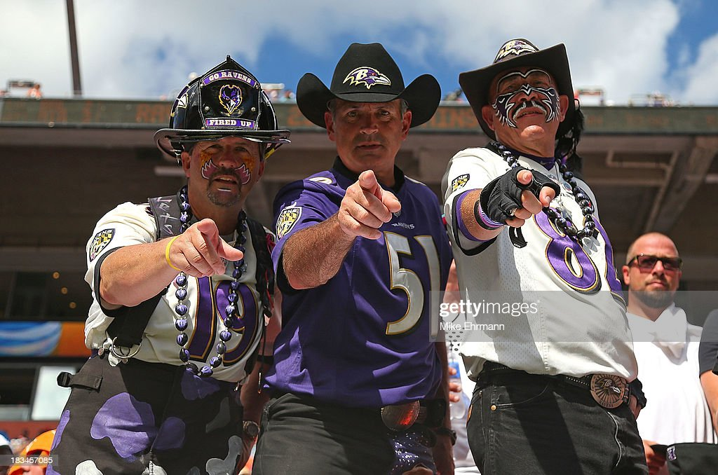 Baltimore Ravens fans cheer during a game against the Miami Dolphins at Sun Life Stadium on October 6, 2013 in Miami Gardens, Florida.