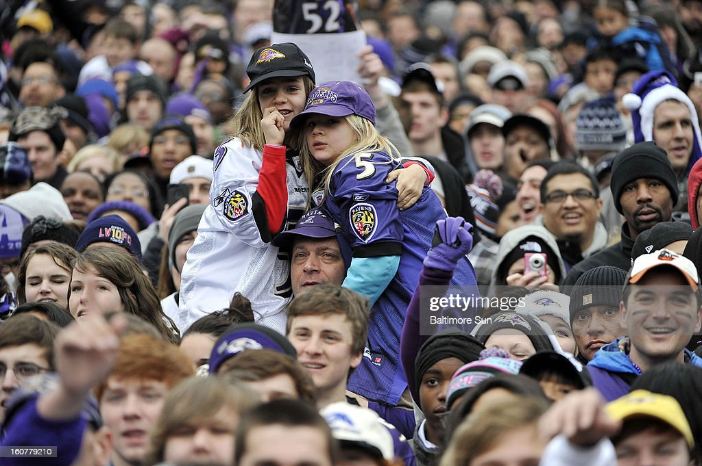 Baltimore Ravens fans gather at M&T Stadium to celebrate the team's Super Bowl victory in Baltimore, Maryland, Tuesday, February 5, 2013.