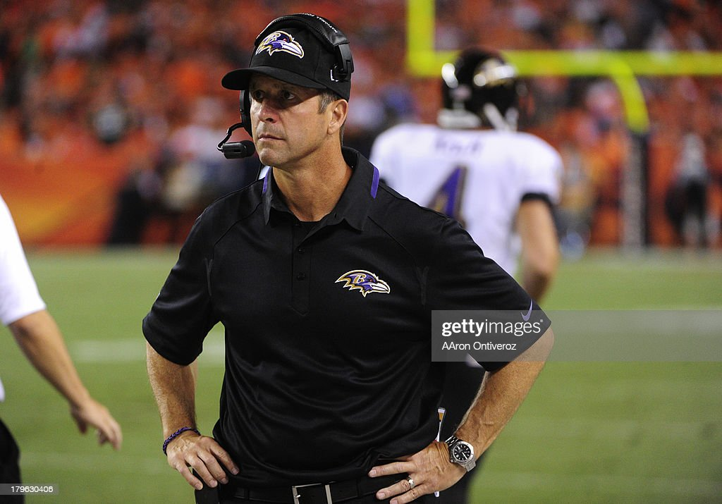 Baltimore Ravens head coach John Harbaugh on the sidelines in the third quarter. The Denver Broncos took on the Baltimore Ravens in the first game of the 2013 season at Sports Authority Field at Mile High in Denver on September 5, 2013.