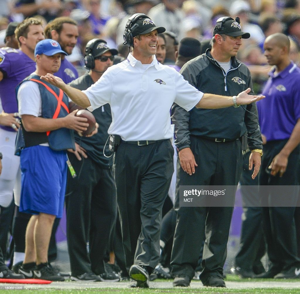 Baltimore Ravens head coach John Harbaugh questions a referee during the second half of their game with the Cleveland Browns on Sunday, September 15, 2013, in Baltimore, Maryland.