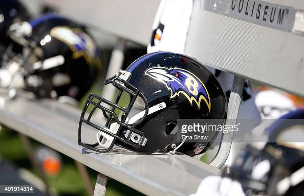 Baltimore Ravens helmet sits on the bench during their game against the Oakland Raiders at Oco Coliseum on September 20 2015 in Oakland California