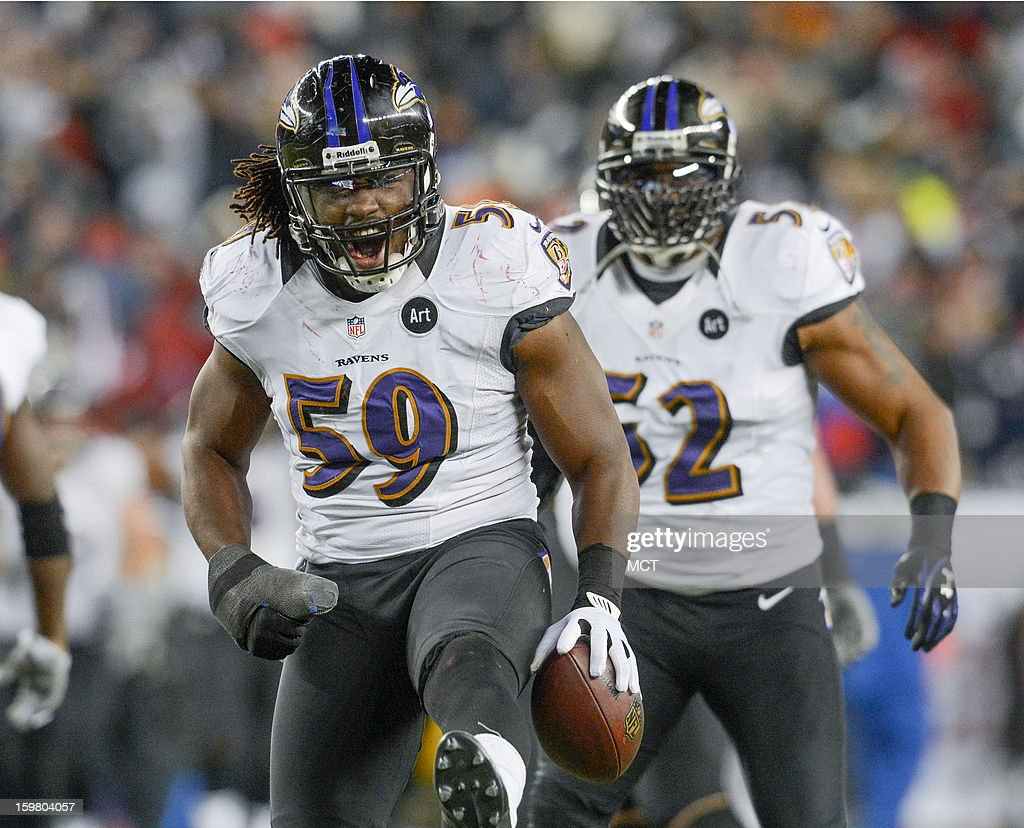 Baltimore Ravens inside linebacker Dannell Ellerbe celebrates his interception during the second half of the AFC Championship game at Gillette Stadium in Foxboro, Massachusetts, Sunday night, January 20, 2013.