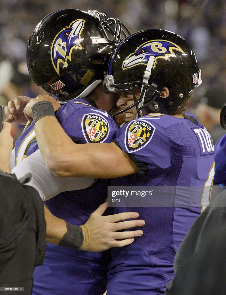 Baltimore Ravens kicker Justin Tucker embraces longsnapper Morgan Cox after kicking the game winning field goal The Baltimore Ravens defeat the New...